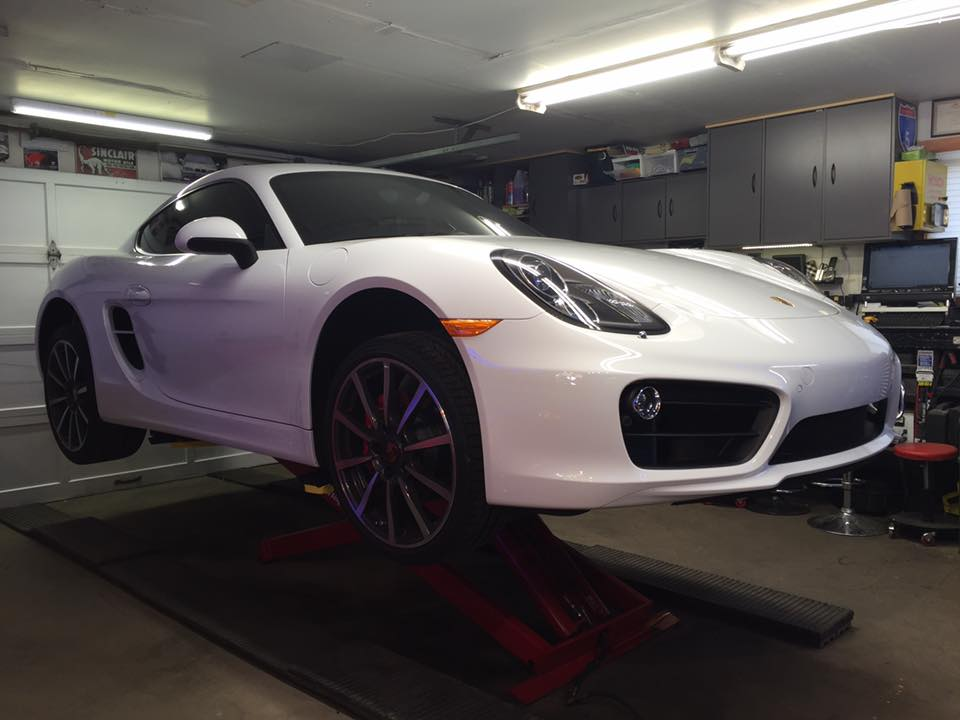 Cayman recieving a performance exhaust