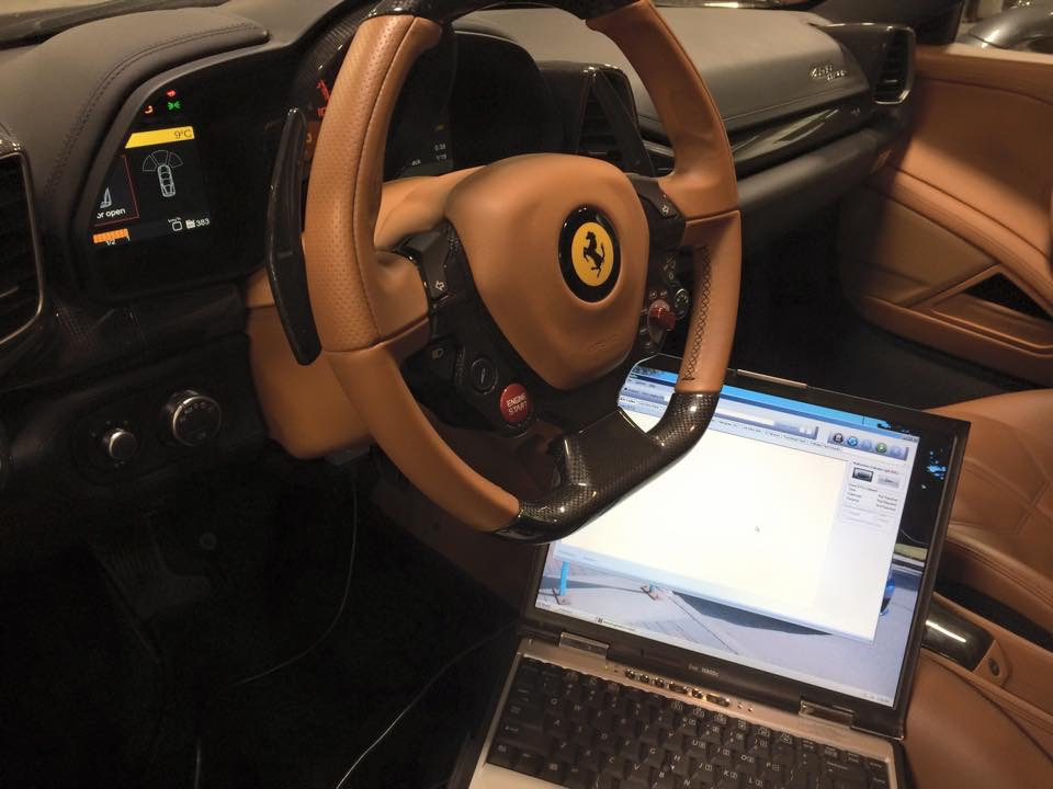 Ferrari 458 Italia undergoing diagnostics